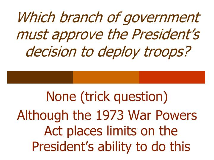 Which branch of government must approve the President's decision to deploy troops?