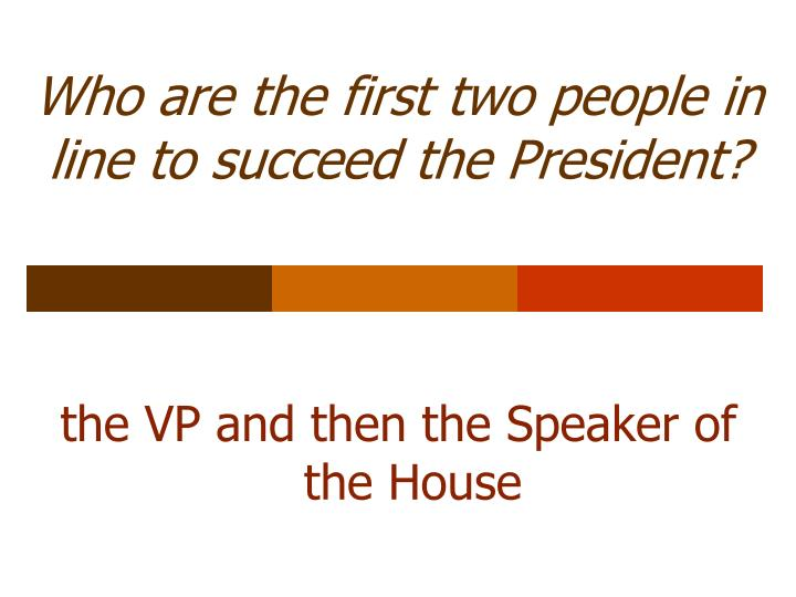 Who are the first two people in line to succeed the President?