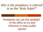 why is the presidency is referred to as the bully pulpit