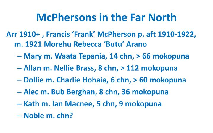 Mcphersons in the far north