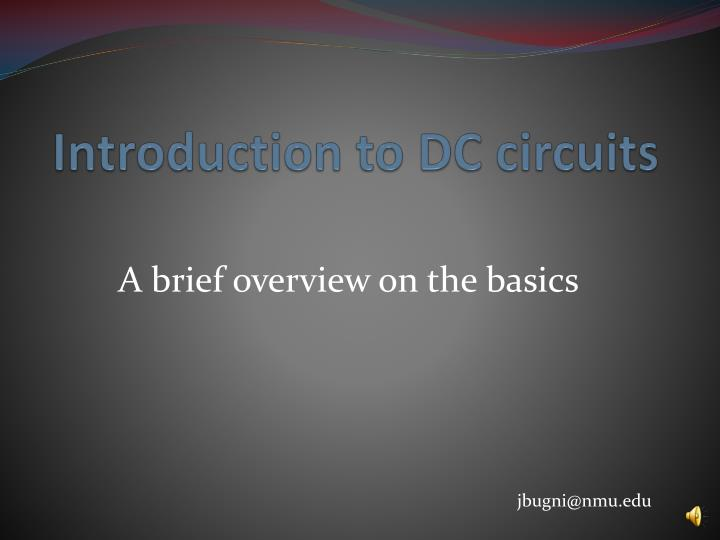 introduction to dc circuits n.