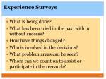 experience surveys