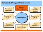 research design descriptors