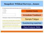 snapshot wildcat surveys issues
