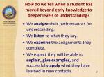 how do we tell when a student has moved beyond early knowledge to deeper levels of understanding