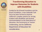 transforming education to improve outcomes for students with disabilities