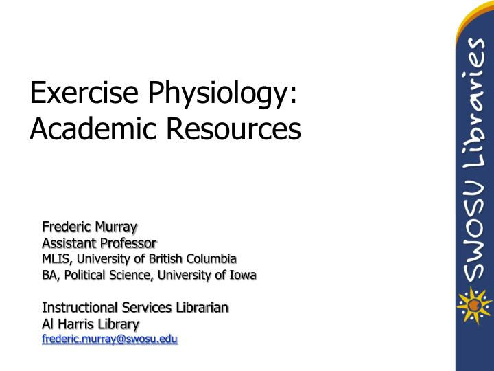 exercise physiology academic resources n.