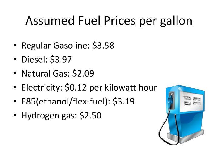 Assumed fuel prices per gallon