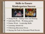 skills to ensure kindergarten success