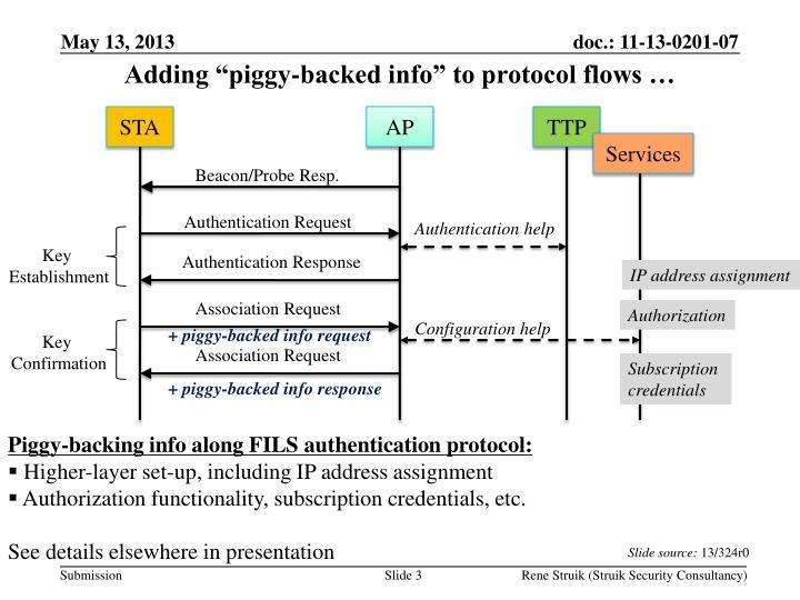 Adding piggy backed info to protocol flows