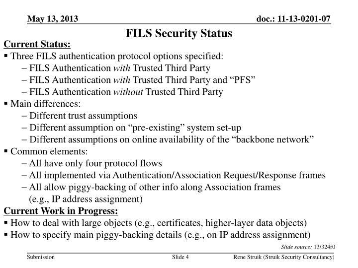FILS Security Status