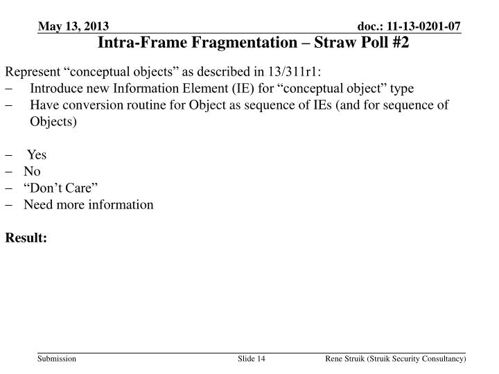 Intra-Frame Fragmentation – Straw Poll