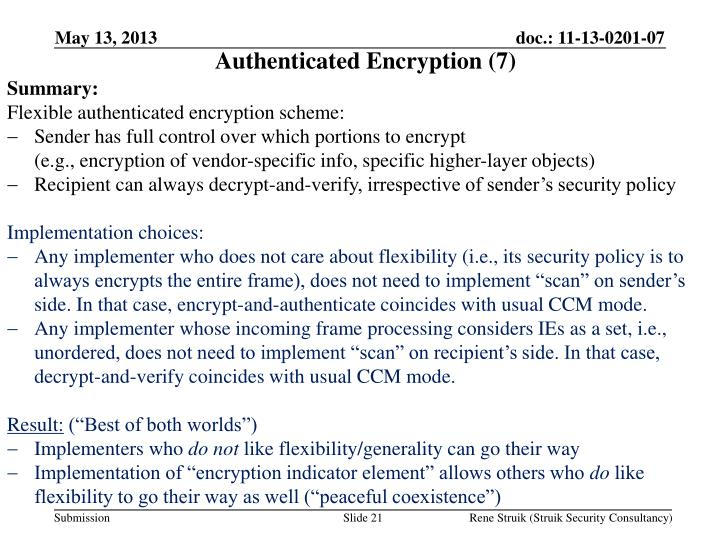 Authenticated Encryption (7)