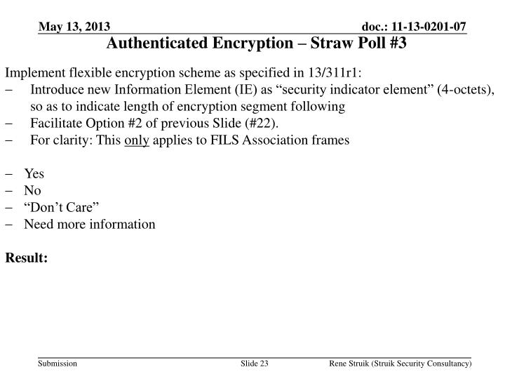 Authenticated Encryption – Straw Poll