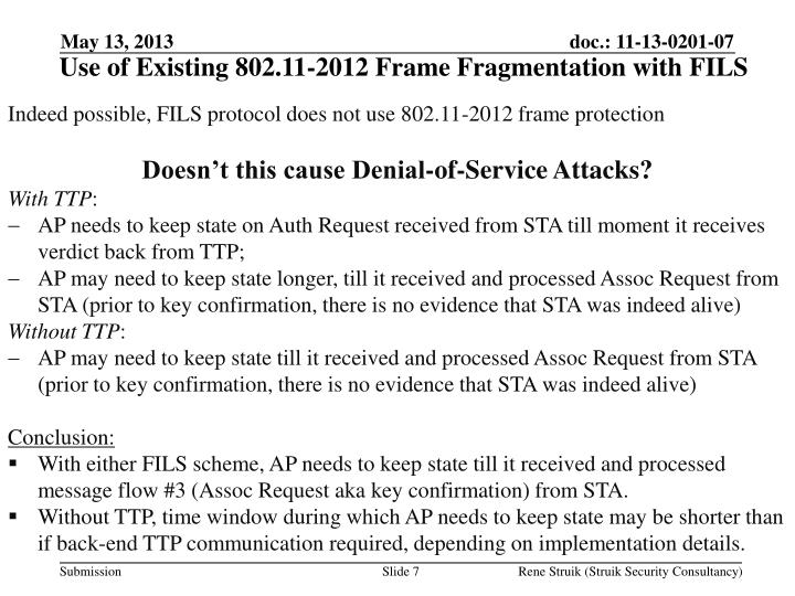 Use of Existing 802.11-2012 Frame Fragmentation with FILS