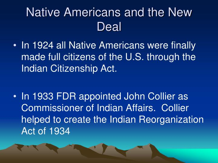 Native Americans and the New Deal