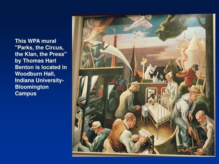 """This WPA mural """"Parks, the Circus, the Klan, the Press"""""""