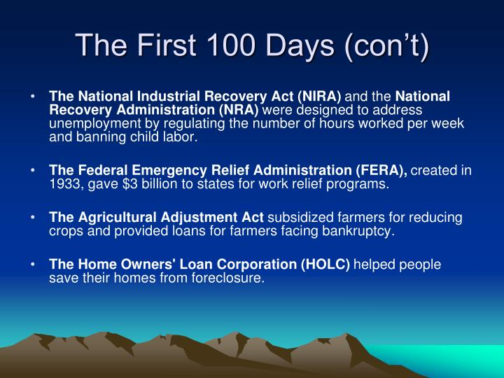 The First 100 Days (con't)