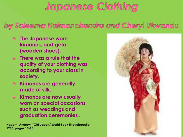 japanese c lothing by saleema h aimanchandra and cheryl ukwandu n.