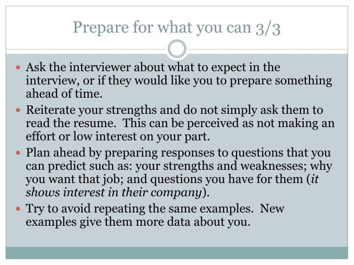 Prepare for what you