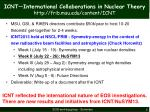 icnt international collaborations in nuclear theory http frib msu edu content icnt