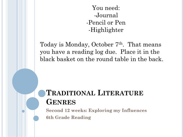 traditional literature genres n.