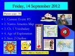 friday 14 september 2012