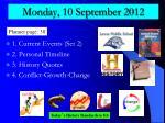 monday 10 september 2012