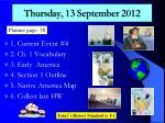 thursday 13 september 2012