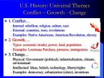 u s history universal themes conflict growth change