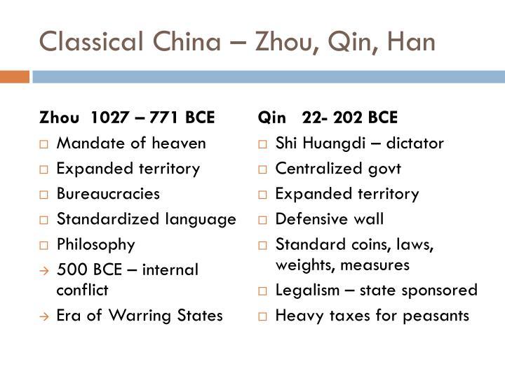 Classical China – Zhou, Qin, Han