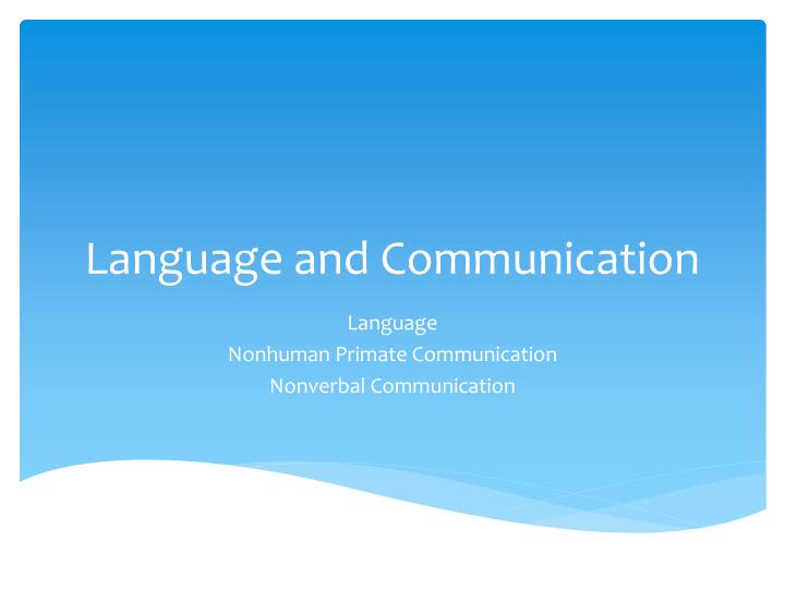 language and communication n.