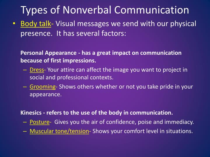 7 types of nonverbal communication