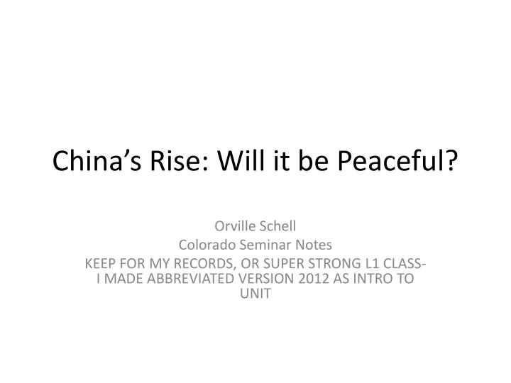 China s rise will it be peaceful