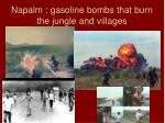 napalm gasoline bombs that burn the jungle and villages