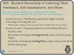 m5 student ownership of learning peer feedback self assessment and more