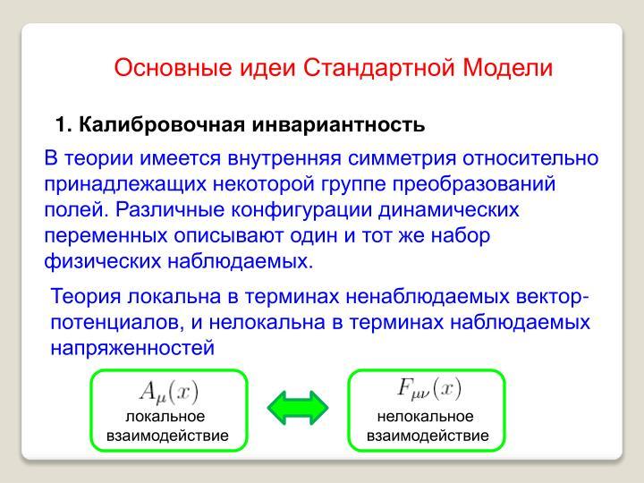 Основные идеи Стандартной Модели