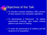 objectives of the talk