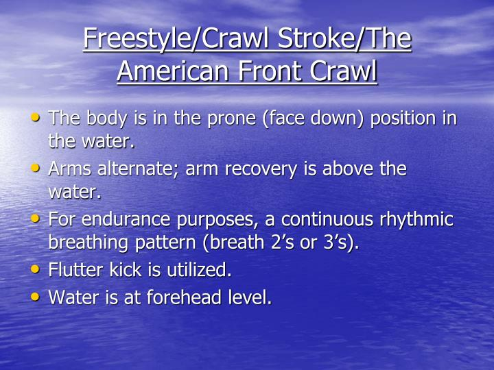 Freestyle/Crawl Stroke/The American Front Crawl