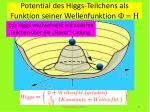 potential des higgs teilchens als funktion seiner wellenfunktion f h