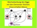 wechselwirkung des higgs mit den elementar teilchen diese erhalten masse