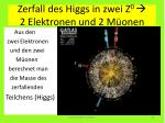 zerfall des higgs in zwei z 0 2 elektronen und 2 m onen