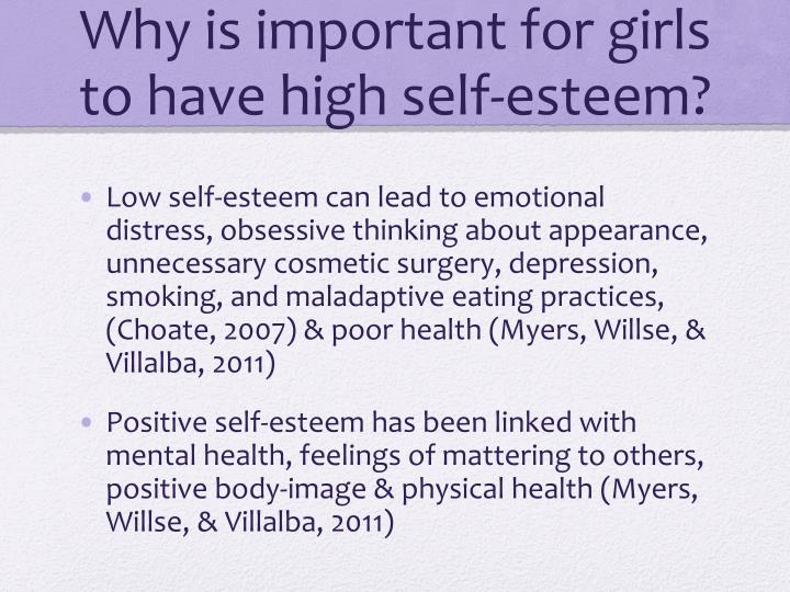 the importance of self esteem Free essay: self-concept and self-esteem are considered to be the feelings and constructs that people experience in relation to themselves the idea that.