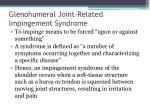 glenohumeral joint related impingement syndrome