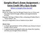 genghis khan s grave assignment extra credit or a quiz grade