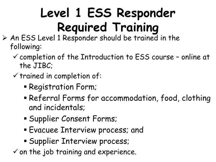 Level 1 ESS