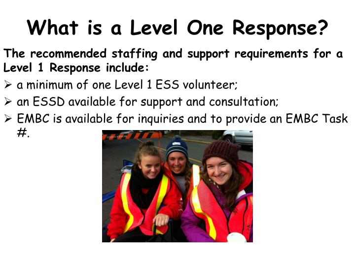 What is a Level One Response?