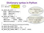 dictionary syntax in python