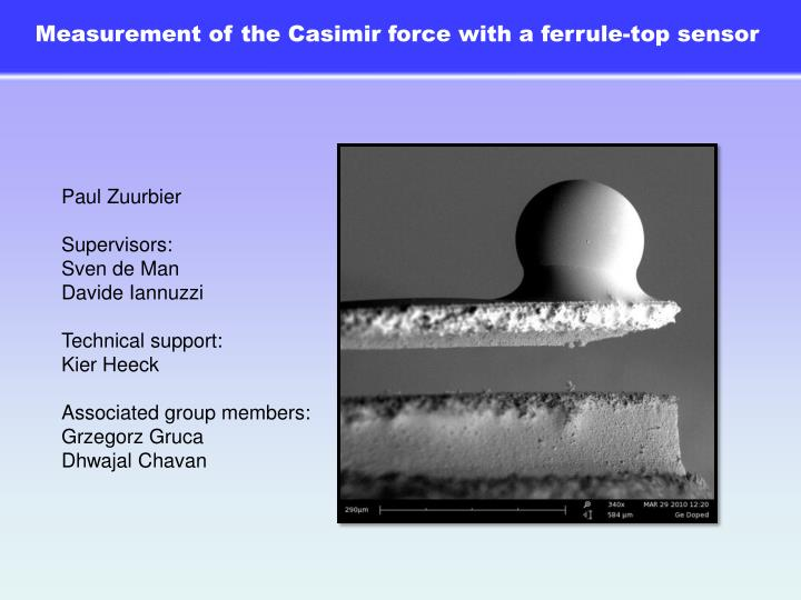 Measurement of the Casimir force with a ferrule-top sensor