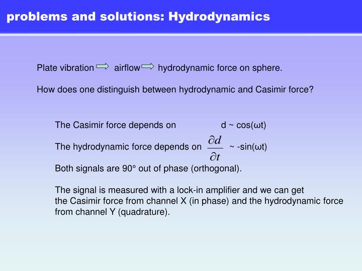 problems and solutions: Hydrodynamics